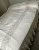 Antique Lace Throw Bedspread French 1920s Muslin Tablecloth Bed Cover Retro Old