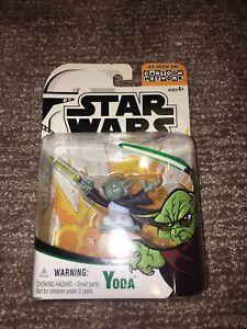 Star Wars Clone Wars YODA Animated Figure ~ Cartoon Network Hasbro UNOPENED