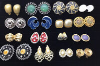 Vtg Clip Earring Lot Signed Coro Sperry Napier Big Bold Gold Pearl Enamel 16 A