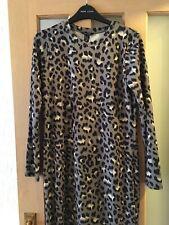 New Look Khaki Leopard Print Slinky Body-Con Long Sleeve Midi Dress Size 8