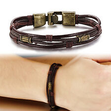 Men Braided Genuine Leather Stainless Steel Cuff Bangle Bracelet Wristband gold