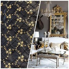 NEW! 100% Silk Dupioni Embroidered Quilted Floral Fabric- Black Gold
