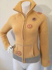 ROXY Sweater Twinkle Star Yellow Zipper Front Women Size S $60