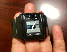 Beautiful unisex black dual time analog / digital watch new