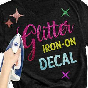 Glitter Sparkle Letters Design Heat Transfer T-Shirt Iron-On Name Custom Decals
