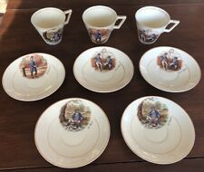 Lot of Charles Dickens Wedgwood Cups & Saucers, Mr. Pickwick Wellers Micawber