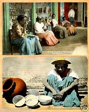 Native Women Selling Lottery Tickets Pottery Vendor Panama City C.Z. 2 Postcards