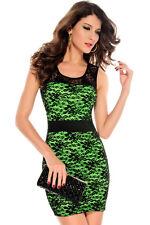 Neon Green Cocktail Dress Black Floral Lace Stretch Mesh Clubwear 2806
