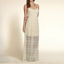 Abercrombie Hollister Maxi high low dress cream off white Floral Laced cute XS