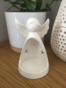 Heaven Sends Christmas white porcelain angel with stars tea light holder 13cm