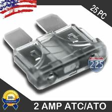 25 Pack 2 AMP ATC/ATO STANDARD Regular FUSE BLADE 2A CAR TRUCK BOAT MARINE RV US