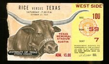 1965 Texas Longhorns v Rice Owls Football Ticket 10/23/65 30863