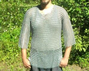 Medieval Aluminium Butted ChainMail Shirt Armor Haubergen LARP Costume>size larg