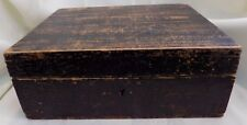 ANTIQUE Country PRIMITIVE Black BOX Original Paint Hinged Cover
