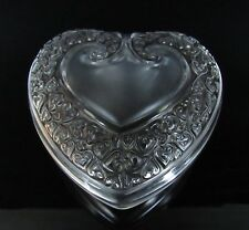 Signed LALIQUE Frosted Crystal Glass Heart Shaped Jewellery Trinket Dresser Box
