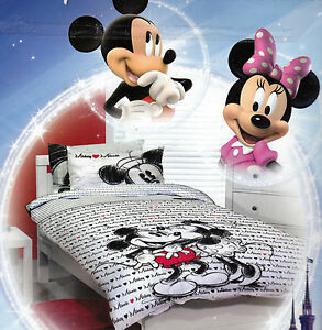 Disney MICKEY loves MINNIE SINGLE, DOUBLE or QUEEN Duvet/Doona/Quilt Cover SET