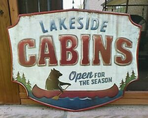 Lakeside Cabin Canoe Bear Lake Outdoors 23 x 18 Die Cut Embossed Tin Metal Sign
