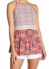 JOLT Medium CORAL FLORAL BOHO BABYDOLL CAMI top shirt m purple lace
