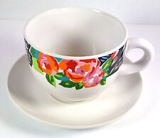 """Giant Size Coffee Cup and Saucer Floral Design 5"""" across 3.875"""" tall"""