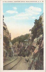 WB postcard, man on rail road track, Gateway , Crawford Notch, White Mountains