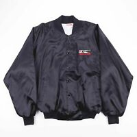 Vintage HARTWELL Made In USA Black Silky Bomber Jacket Mens Size XL