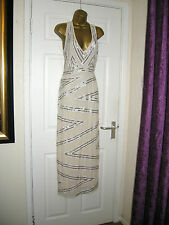 10 MAYA PETITE MAXI CREAM DRESS EMBELLISHED TOP GATSBY PARTY WEDDING SUMMER HOLS
