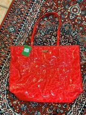KATE SPADE NY SHUFFLED EMBOSSED LETTERS PURSE BON SHOPPER TOTE RED SCARLET NEW
