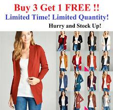 Women Long Sleeve Open Front Sweater Cardigan w Pockets RIB BANDED sz S-3X
