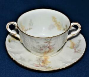 Antq 1890s CHARLES FIELD HAVILAND LIMOGES Yellow Purple Set 2 Handles Cup Saucer