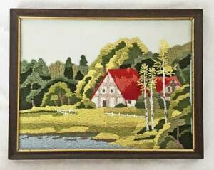Vintage Folky Naive Architectural Red Roof House With A Toothy Smile Needlework