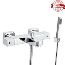 Wall Mounted Square Thermostatic Bath Shower Mixer Tap & Shower Hose, Handset