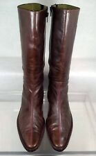Coclico Brown Leather Mid Riding Boots Women US 7.5 / 38