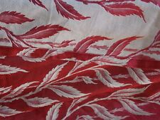 3 Vintage Drapes Curtains Silky Damask Brocade Jaquard Fabric Panels Fern design