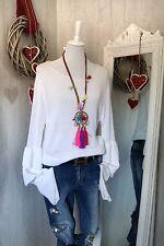 ♛ tricot fin pull de coton ❤ trompettes manches Ibiza Style ❤ taille 38-40