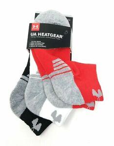 Under Armour NWT Shoe Size 4Y-8Y Boys Low Cut Socks Heatgear Half Cushion 3 Pack