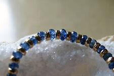 saphir blau facett. AAA kyanit armband mit starker gold filled vergoldung, 19cm