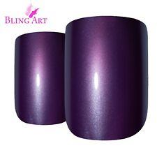 False Nails Purple Acrylic French Manicure Bling Art Fake Medium Tips 2g Glue