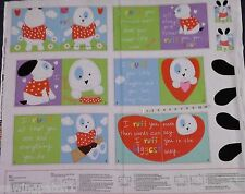 Huggable & Lovable book Panel.100% cotton. little puppy pattern 3358P
