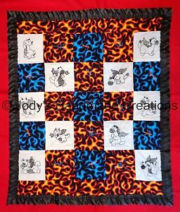 HANDMADE BABY QUILT /EMBROIDERED BLACKWORK DRAGONS AND FLAMES  29 X 35