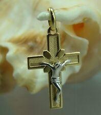 18 Karat Anhänger Kreuz 750-er Weiß-Gelbgold Neu Bicolor Gold