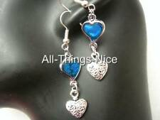 ABALONE Paua Shell Love Heart 35mm Dangle Charm Silver Plated Earrings Jewellery