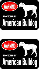 2 protected by American Bulldog dog car home window bumper vinyl stickers