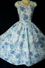 Vintage Laura Ashley 1950 S Style Bleu Roses Floral BAIN DE SOLEIL, UK 12 (étiquette 14)