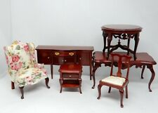 Vintage Mahogany Future Lot Chairs Table Buffet Dollhouse Miniature 1:12