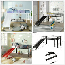 Twin Size Loft Bed with Slide Wood Low Sturdy Loft Bed for Kids Bedroom 3 Colors
