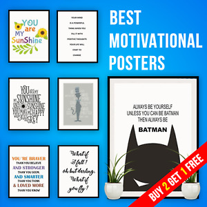New Motivational Quote Prints Inspirational Wall Art Home Décor Bedroom Posters