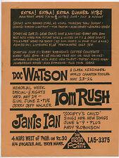 DOC WATSON Tom Rush JANIS IAN Jerry Jeff Walker Original 1968 Concert Handbill