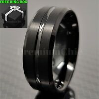 Black Tungsten Carbide Band Engagement Ring with Black Line Men's Jewelry