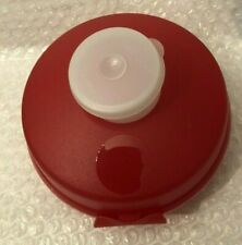 Tupperware RED Round Sandwich Bagel Roll Keeper w Clear Smidget for Condiments