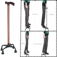 63-85cm Adustable Aluminum Four-legged Crutches Four-corner Cane Walking Sticks